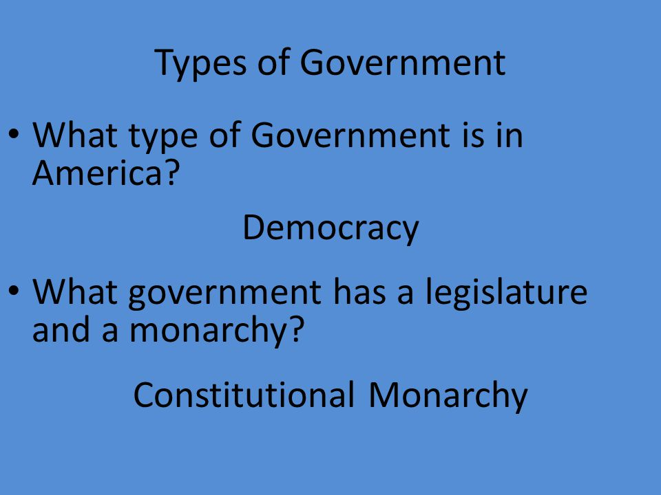 Types of Government What type of Government is in America.