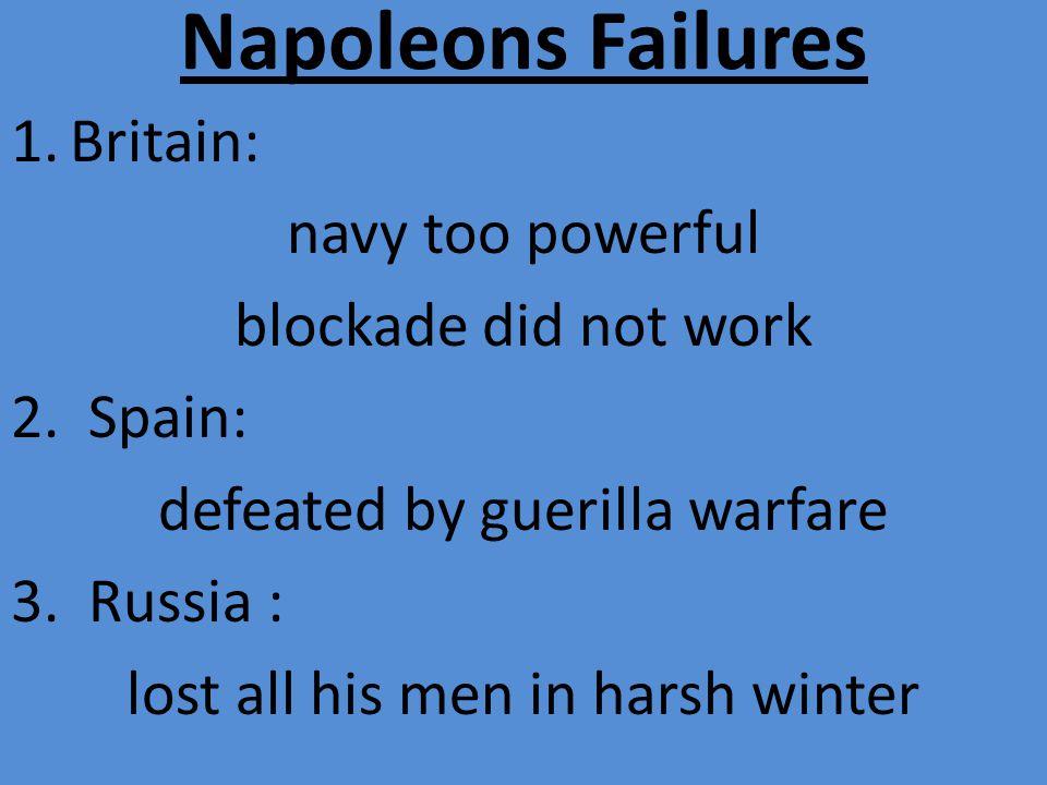 Napoleons Failures 1.Britain: navy too powerful blockade did not work 2.