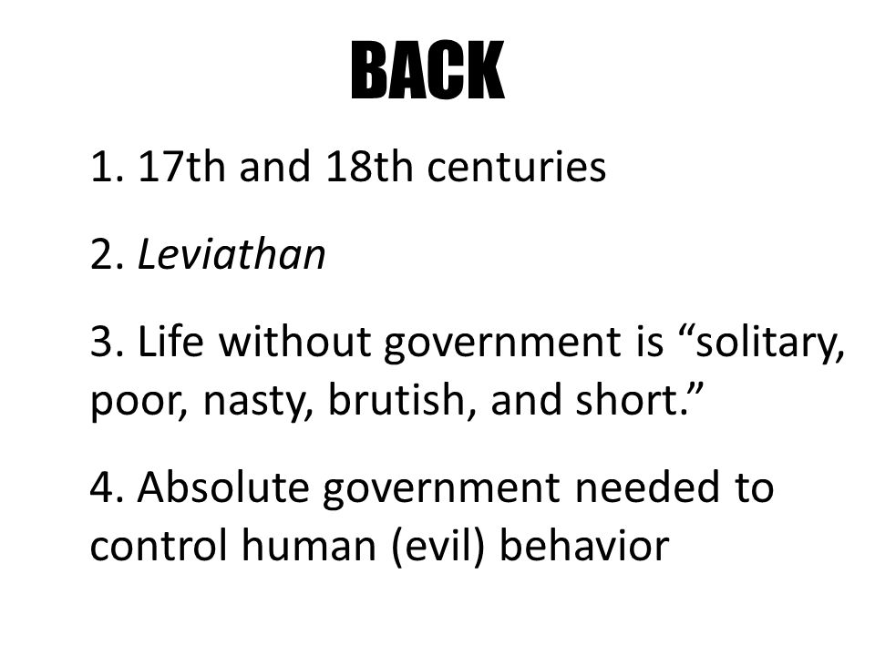 BACK 1. 17th and 18th centuries 2. Leviathan 3.