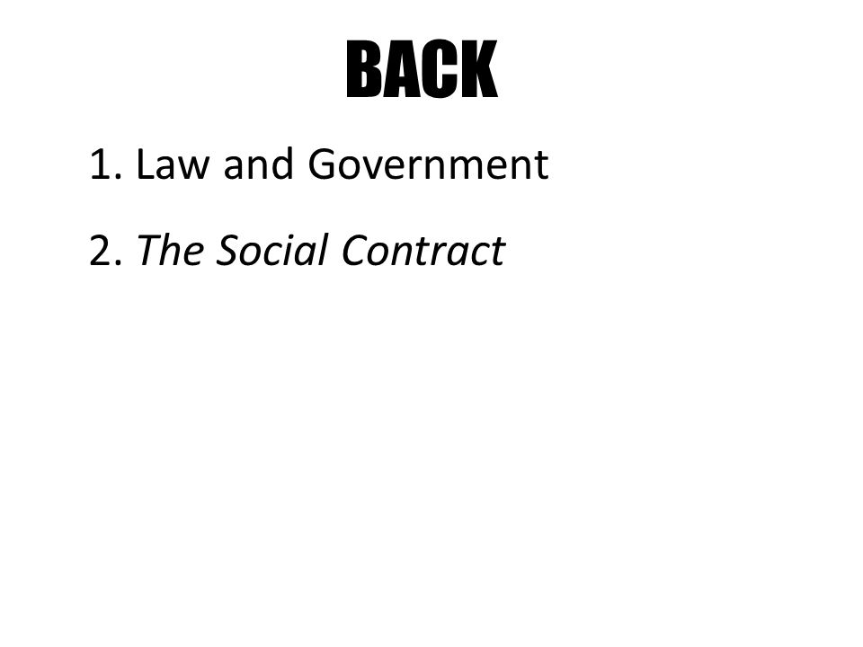 BACK 1. Law and Government 2. The Social Contract