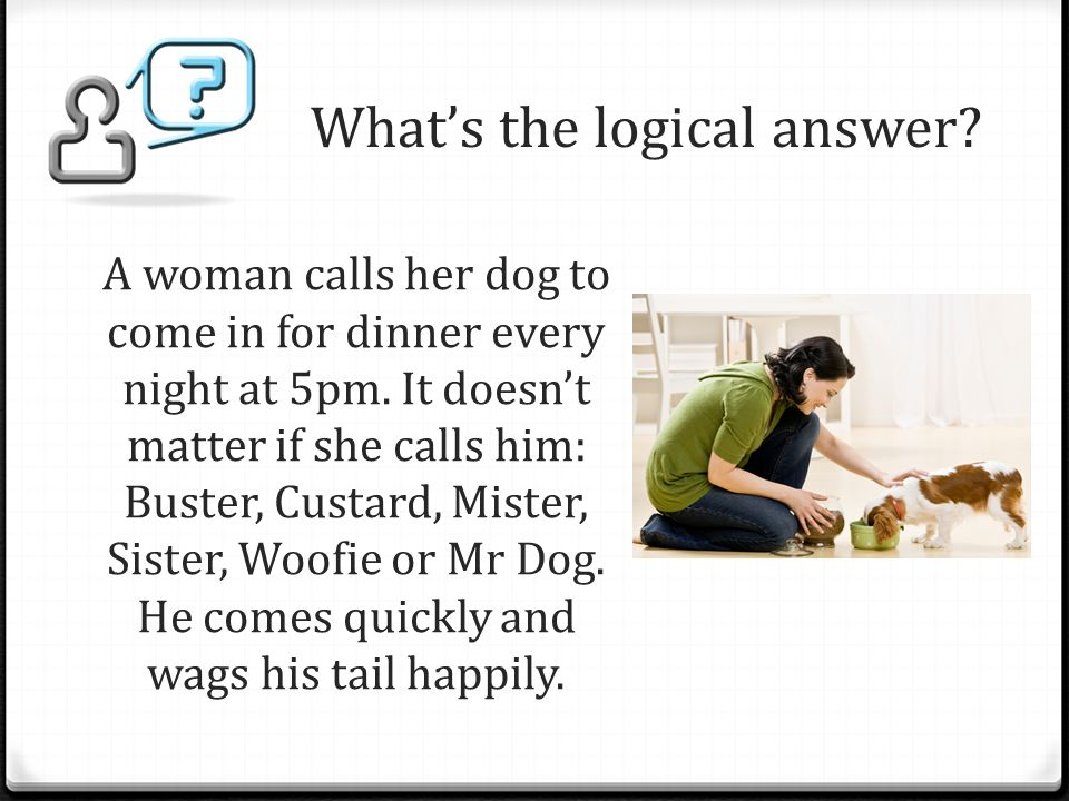 What's the logical answer. A woman calls her dog to come in for dinner every night at 5pm.