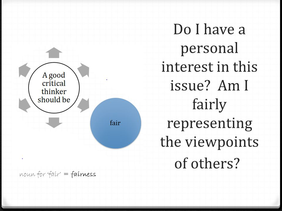Do I have a personal interest in this issue. Am I fairly representing the viewpoints of others.