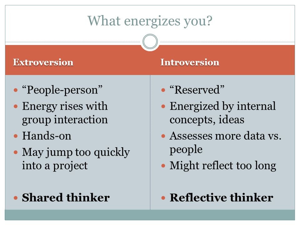 Extroversion Introversion People-person Energy rises with group interaction Hands-on May jump too quickly into a project Shared thinker Reserved Energized by internal concepts, ideas Assesses more data vs.