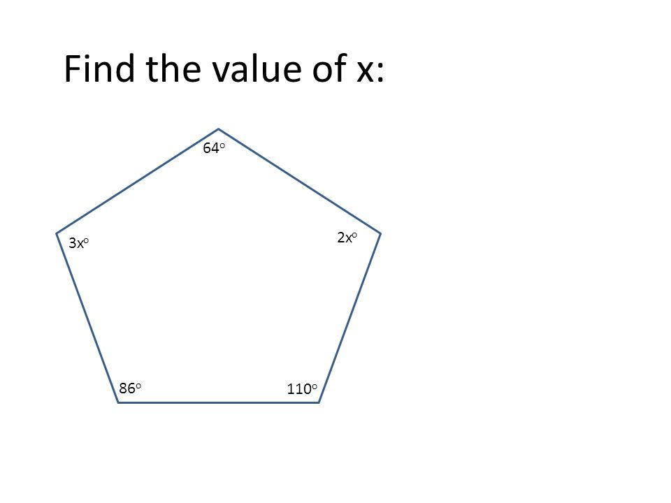 142 o 105 o 140 o 124 o xoxo 88 o Find the value of x: