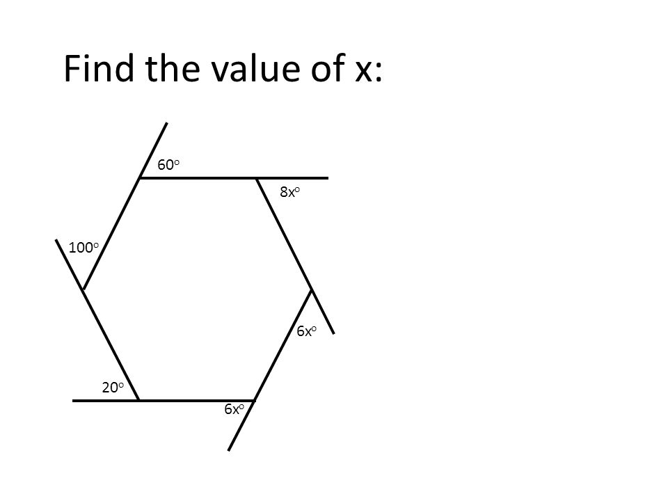 64 o 3x o 2x o 110 o 86 o Find the value of x: