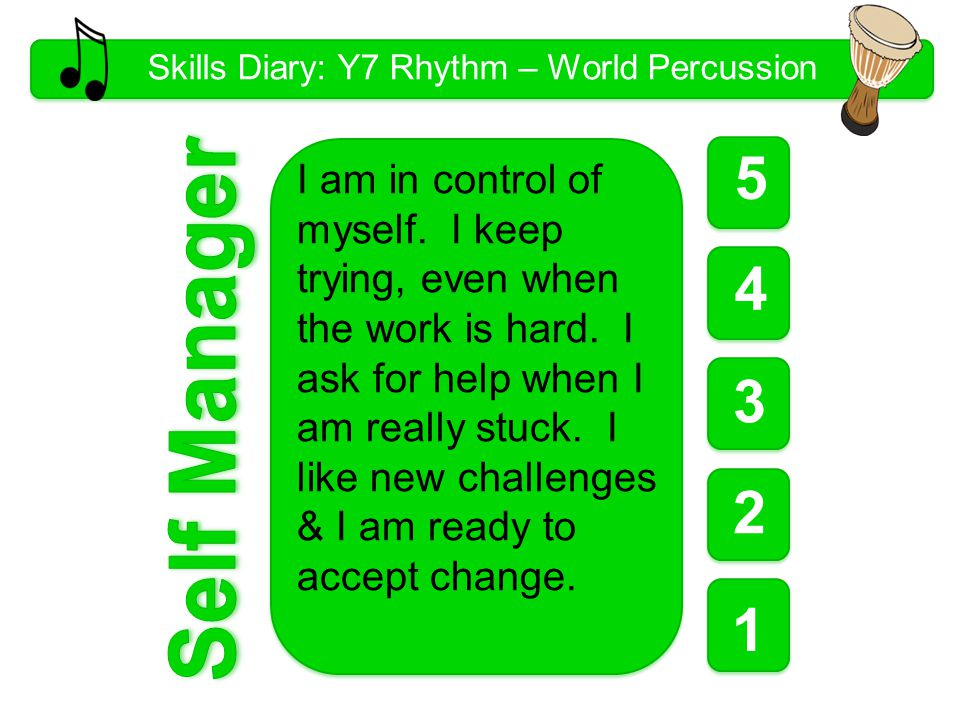 Skills Diary: Y7 Rhythm – World Percussion 5 1 1 1 4 3 2 I am in control of myself.