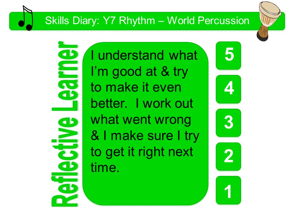 Skills Diary: Y7 Rhythm – World Percussion 5 1 1 1 4 3 2 I understand what I'm good at & try to make it even better.