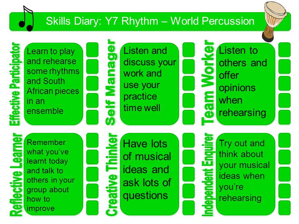 Skills Diary: Y7 Rhythm – World Percussion 1 Learn to play and rehearse some rhythms and South African pieces in an ensemble Listen and discuss your work and use your practice time well Try out and think about your musical ideas when you're rehearsing Listen to others and offer opinions when rehearsing Have lots of musical ideas and ask lots of questions Remember what you've learnt today and talk to others in your group about how to improve