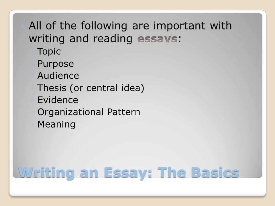 Writing an Essay: The Basics