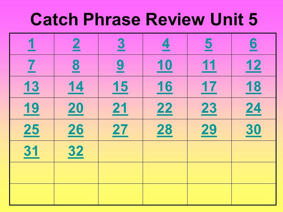 6 789101112 131415161718 192021222324 252627282930 3132 Catch Phrase Review Unit 5 54321