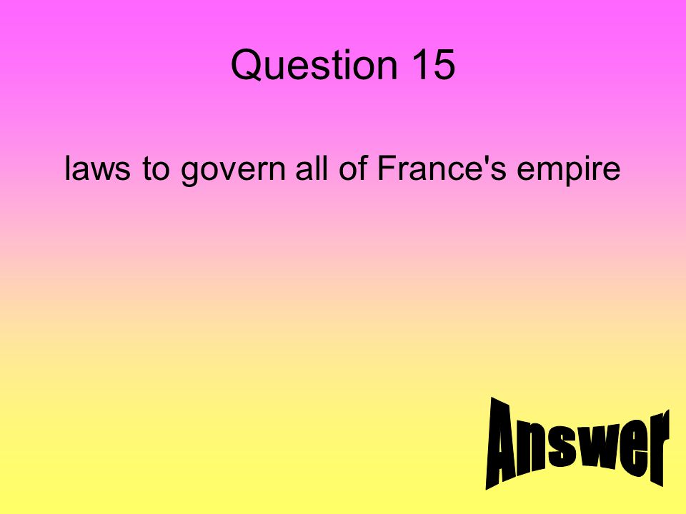 Question 15 laws to govern all of France's empire