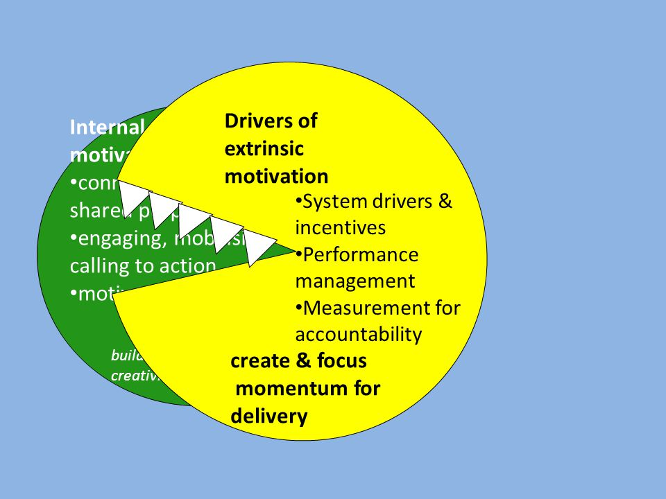 Internal motivators connecting to shared purpose engaging, mobilising and calling to action motivational leadership build energy and creativity Drivers of extrinsic motivation System drivers & incentives Performance management Measurement for accountability create & focus momentum for delivery
