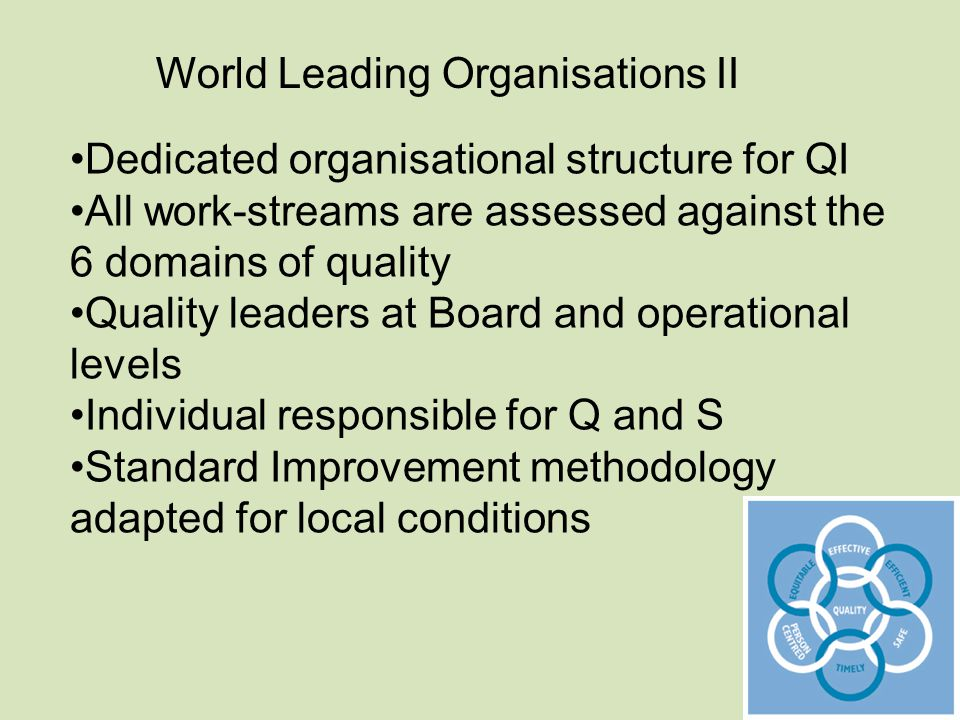 Dedicated organisational structure for QI All work-streams are assessed against the 6 domains of quality Quality leaders at Board and operational levels Individual responsible for Q and S Standard Improvement methodology adapted for local conditions World Leading Organisations II