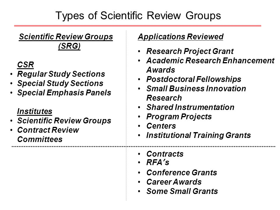 Types of Scientific Review Groups Scientific Review Groups (SRG) CSR Regular Study Sections Special Study Sections Special Emphasis Panels Institutes Scientific Review Groups Contract Review Committees Applications Reviewed Research Project Grant Academic Research Enhancement Awards Postdoctoral Fellowships Small Business Innovation Research Shared Instrumentation Program Projects Centers Institutional Training Grants Contracts RFA's Conference Grants Career Awards Some Small Grants