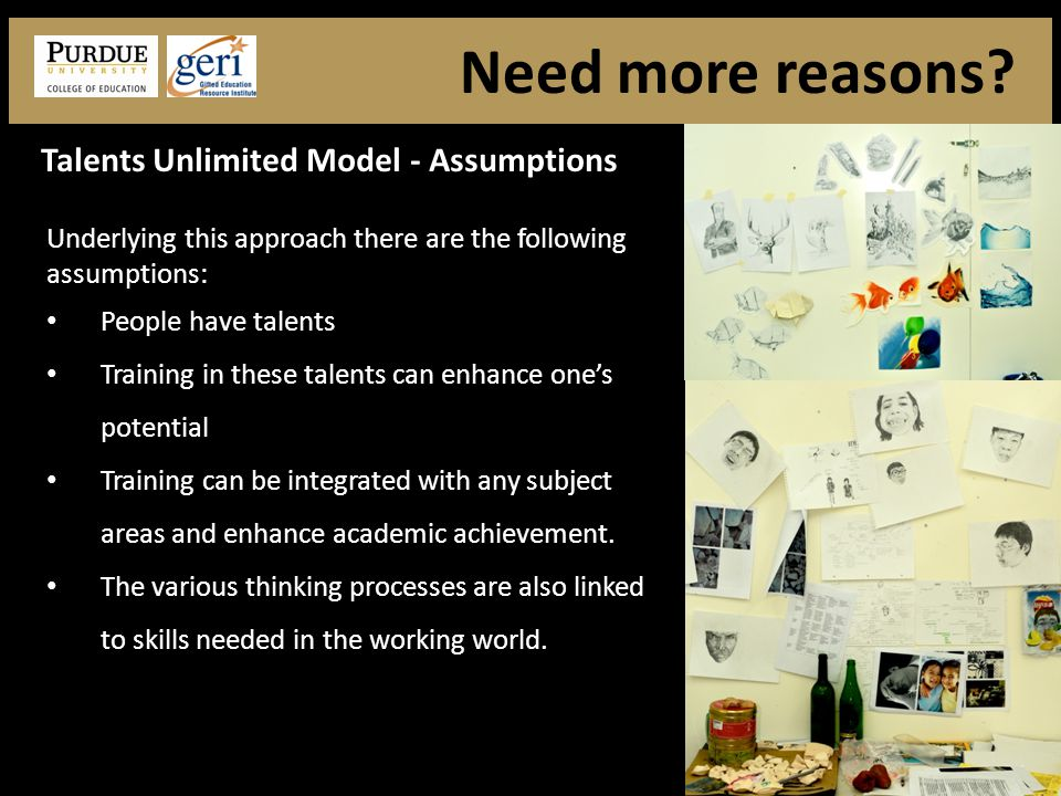 Underlying this approach there are the following assumptions: People have talents Training in these talents can enhance one's potential Training can be integrated with any subject areas and enhance academic achievement.