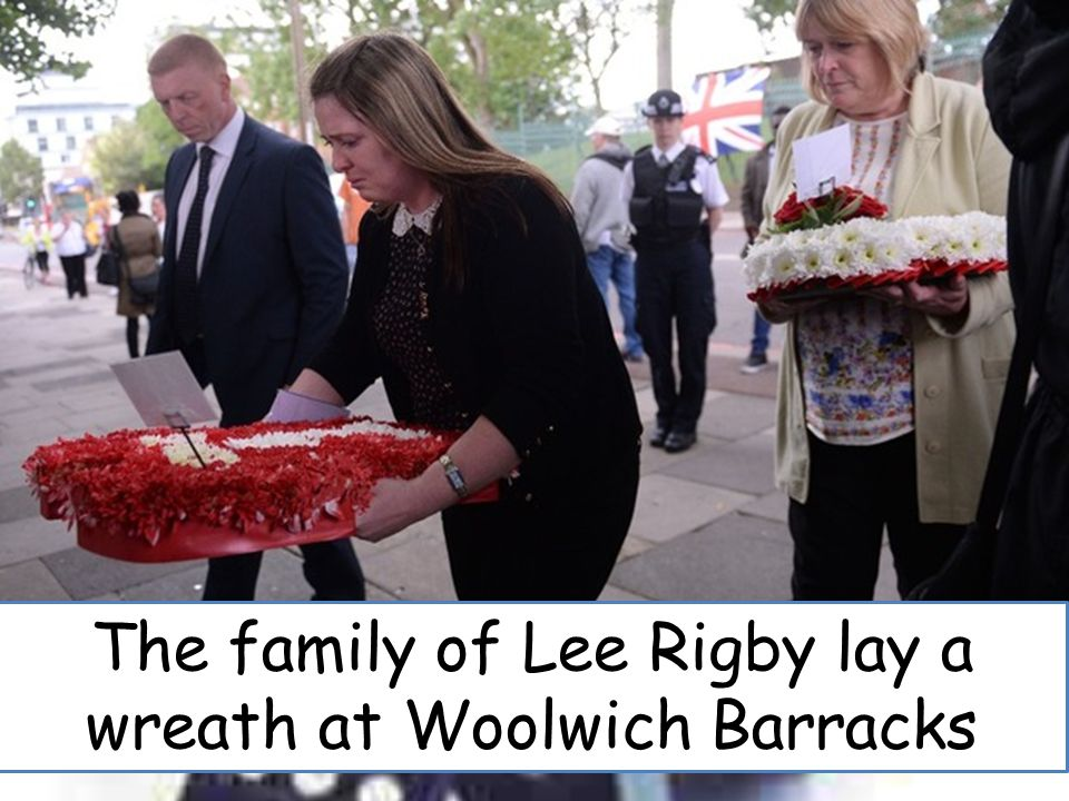 The family of Lee Rigby lay a wreath at Woolwich Barracks