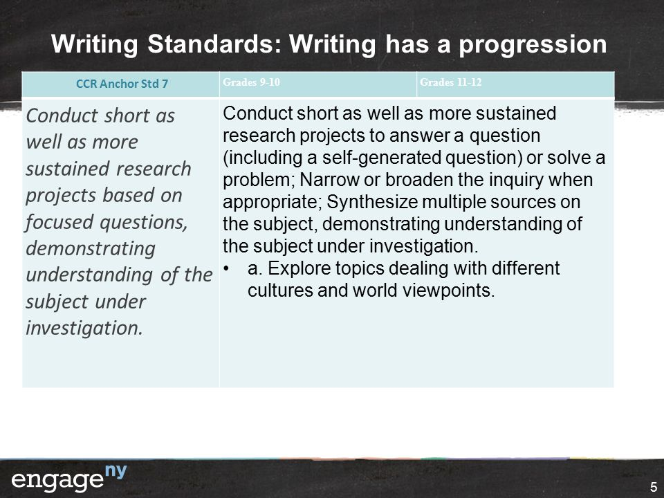 Writing Standards: Writing has a progression 5 CCR Anchor Std 7 Grades 9-10Grades 11-12 Conduct short as well as more sustained research projects base