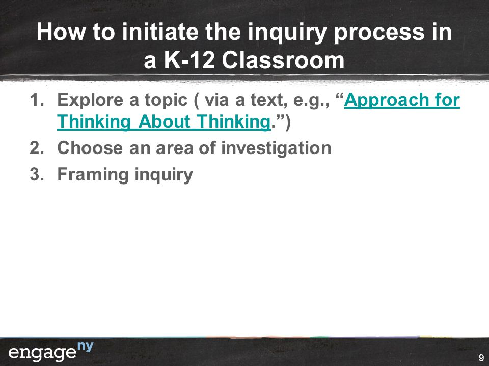 "How to initiate the inquiry process in a K-12 Classroom 1.Explore a topic ( via a text, e.g., ""Approach for Thinking About Thinking."")Approach for Thi"