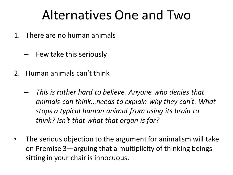 The Thinking Animal Argument 1.There is a human animal sitting in your chair. 2.The human animal sitting in your chair is thinking. 3.The one and only