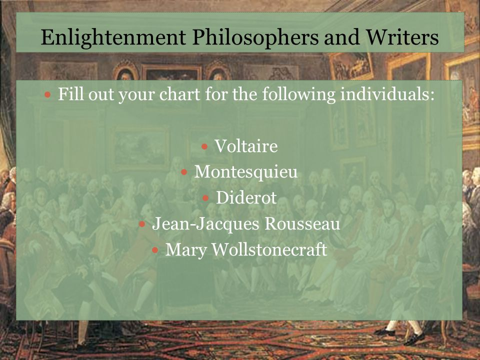 Enlightenment Philosophers and Writers Fill out your chart for the following individuals: Voltaire Montesquieu Diderot Jean-Jacques Rousseau Mary Woll