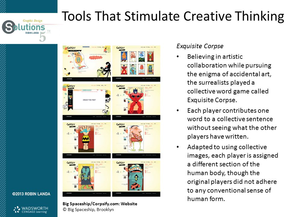 Tools That Stimulate Creative Thinking Exquisite Corpse Believing in artistic collaboration while pursuing the enigma of accidental art, the surrealis