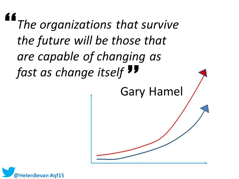 @HelenBevan #qf15 Some warnings ' ' The organizations that survive the future will be those that are capable of changing as fast as change itself Gary