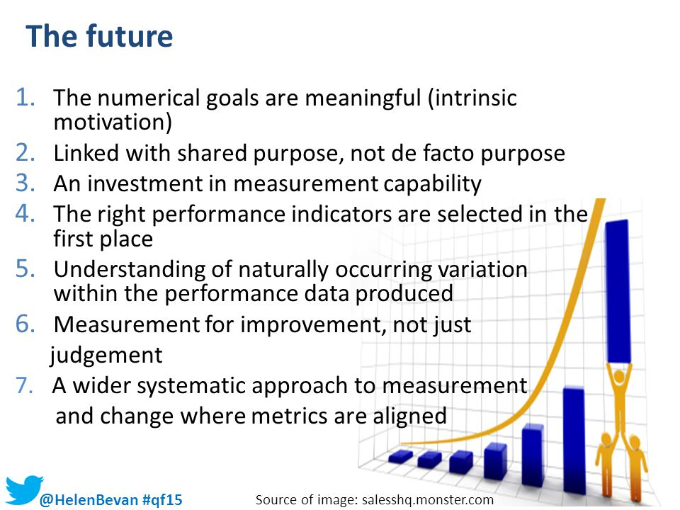 @HelenBevan #qf15 The future 1. The numerical goals are meaningful (intrinsic motivation) 2. Linked with shared purpose, not de facto purpose 3. An in
