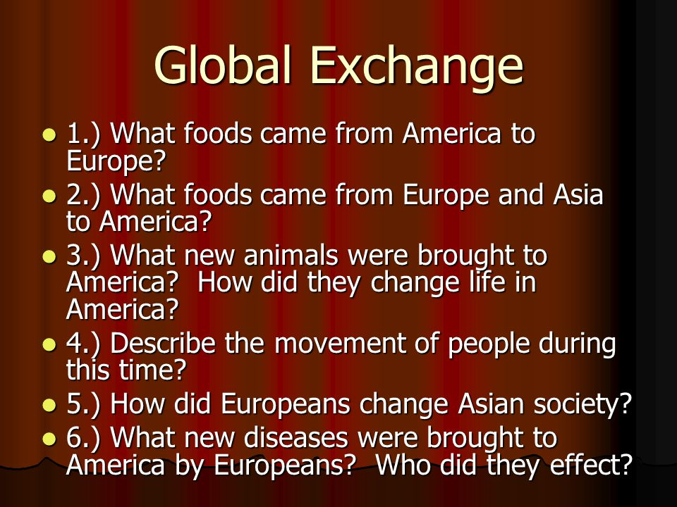 Global Exchange 1.) What foods came from America to Europe.