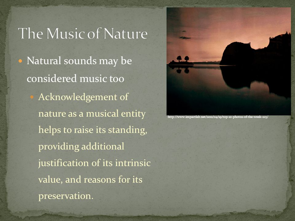 Natural sounds may be considered music too Acknowledgement of nature as a musical entity helps to raise its standing, providing additional justification of its intrinsic value, and reasons for its preservation.