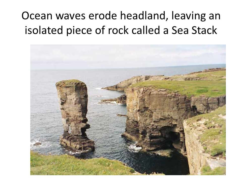 Ocean waves erode headland, leaving an isolated piece of rock called a Sea Stack