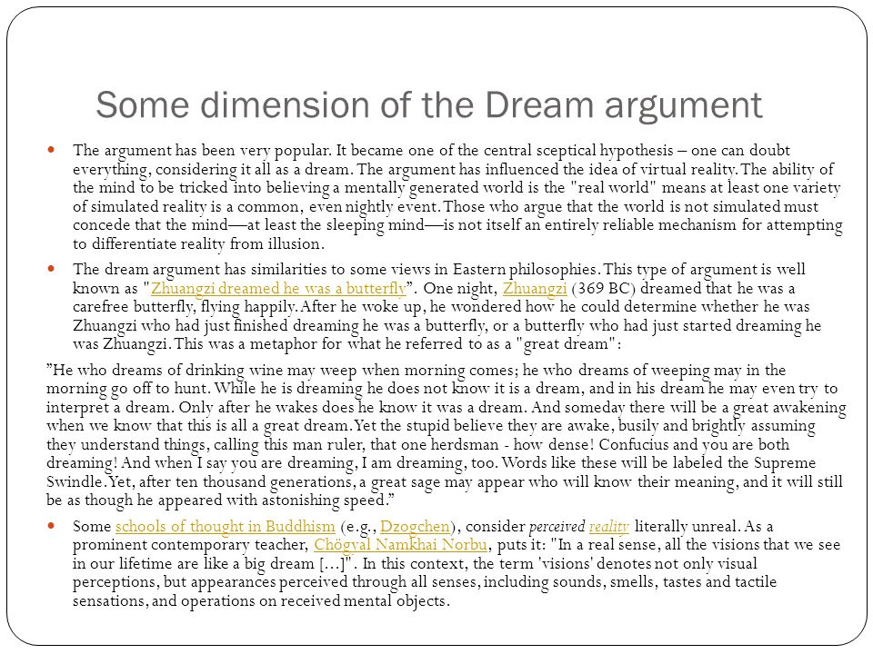 Some dimension of the Dream argument The argument has been very popular.