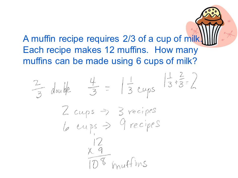 A muffin recipe requires 2/3 of a cup of milk. Each recipe makes 12 muffins.