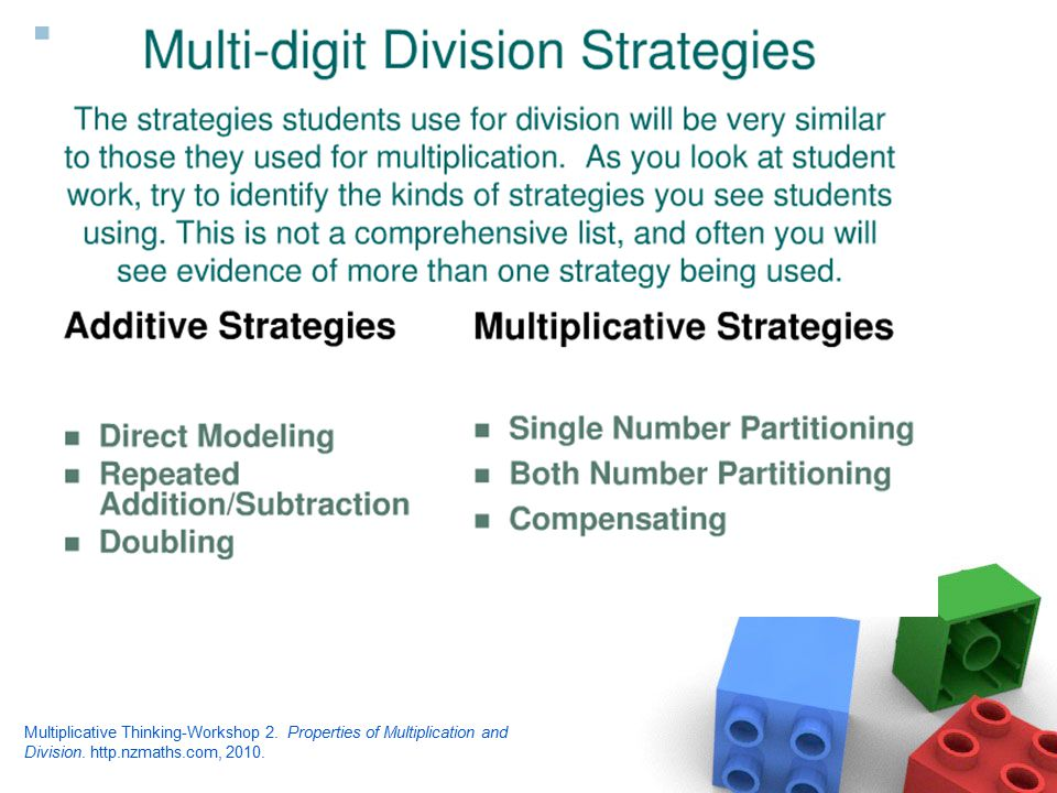 Multiplicative Thinking-Workshop 2. Properties of Multiplication and Division.