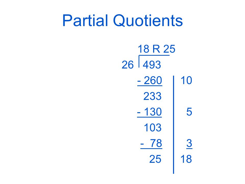 Partial Quotients 18 R 25 26 493 - 260 10 233 - 130 5 103 - 783 25 18