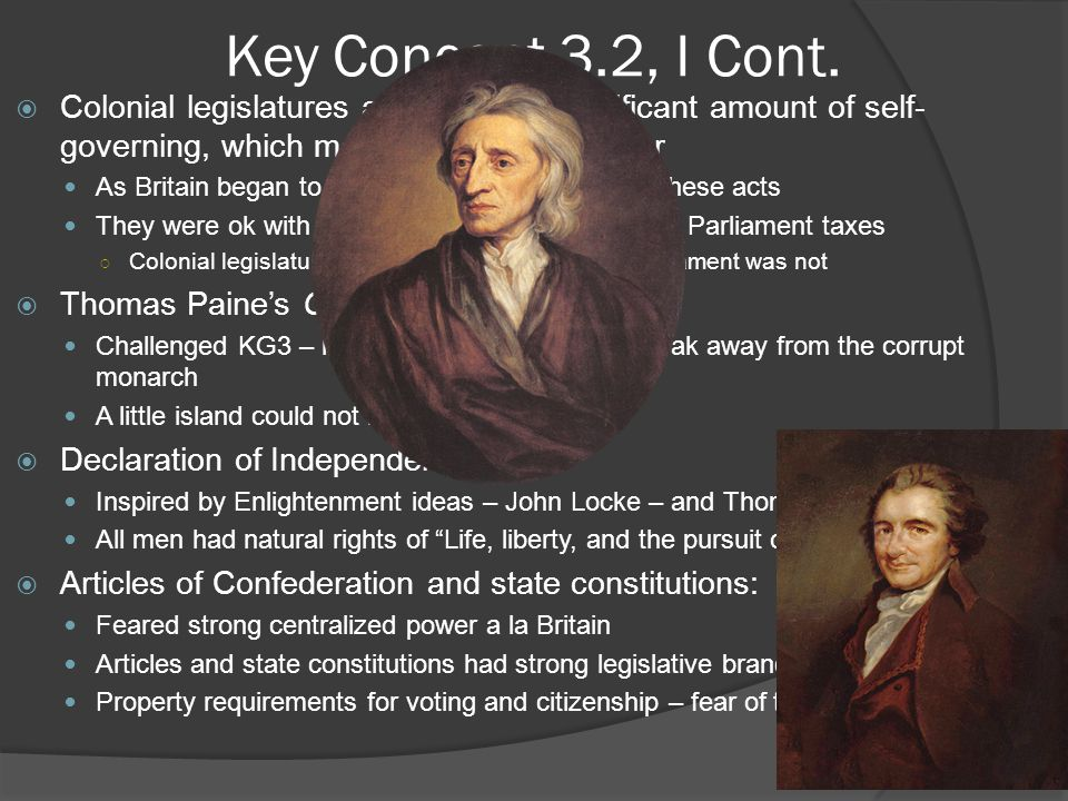 Key Concept 3.2, II  After experiencing the limitations of the Articles of Confederation, American political leaders wrote a new Constitution based on the principles of federalism and separation of powers, crafted a Bill of Rights, and continued their debates about the proper balance between liberty and order. - Page 34 of the Curriculum Framework  Challenges under the Articles: Trade: each state could places tariffs on goods from other states – discouraged trade between states Finances: each state could coin its own $ - differing values, high inflation in some states, also discouraged trade ○ Many states had debt from Revolutionary War – increased taxes ○ Federal government could not require taxes Foreign Relations: ○ Britain – refused commercial treaties with US, Congress could not control commerce (sanctions against Britain) ○ Spain – cut off access to Mississippi River ○ Both countries supplied Native Americans with weapons Internal unrest: ○ Shays' Rebellion: - MA farmers demanded debt relief, attacked court houses  These challenges helped many Americans realize a stronger central government was needed……..