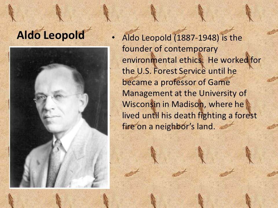 Aldo Leopold Aldo Leopold (1887-1948) is the founder of contemporary environmental ethics.