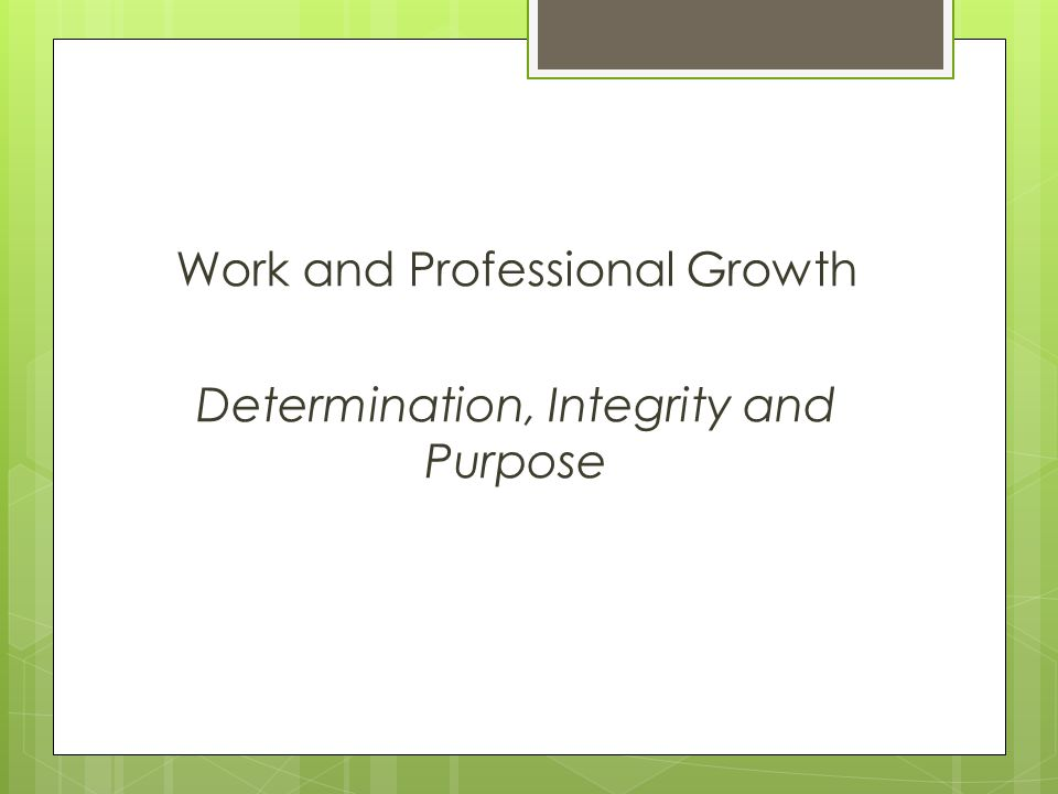 Work and Professional Growth Determination, Integrity and Purpose