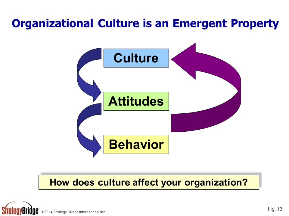 ©2014 Strategy Bridge International Inc. Organizational Culture is an Emergent Property Culture Attitudes Behavior How does culture affect your organi