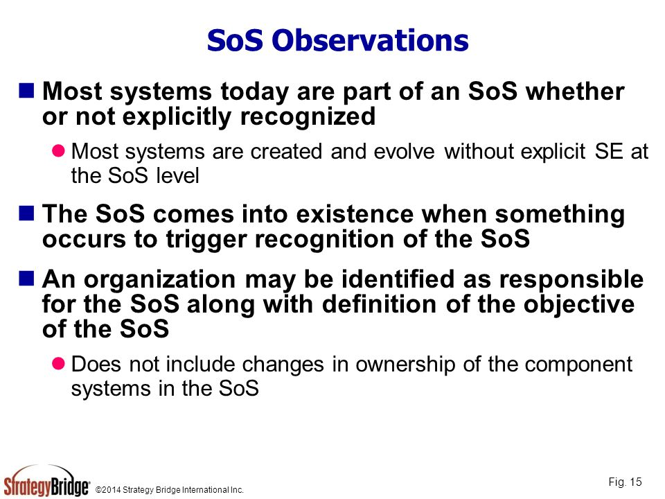 ©2014 Strategy Bridge International Inc. SoS Observations Most systems today are part of an SoS whether or not explicitly recognized Most systems are