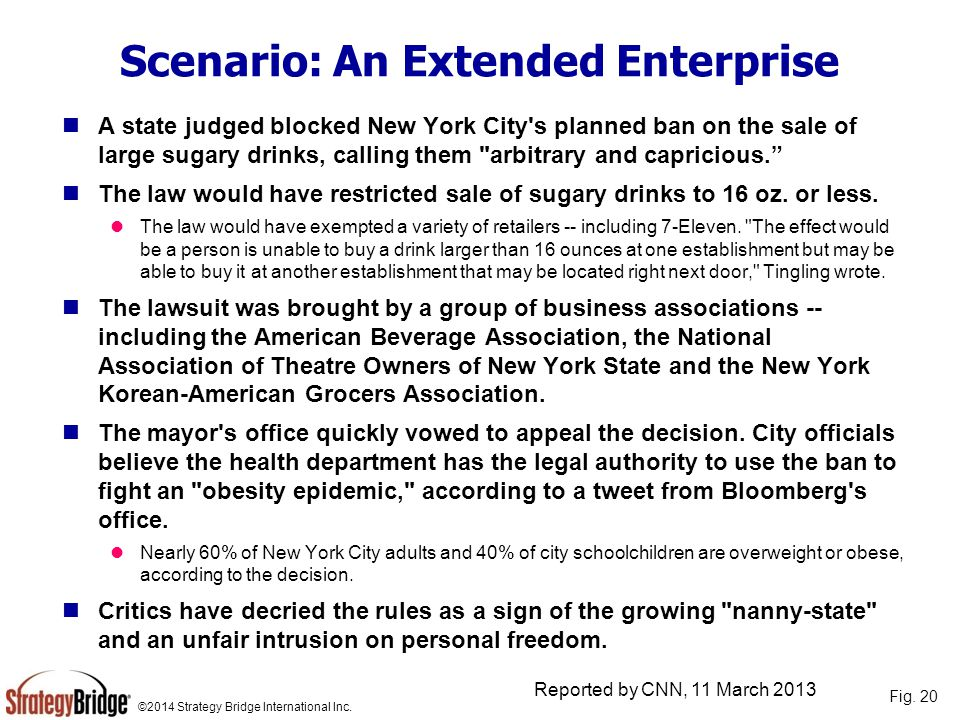 ©2014 Strategy Bridge International Inc. Scenario: An Extended Enterprise A state judged blocked New York City's planned ban on the sale of large suga