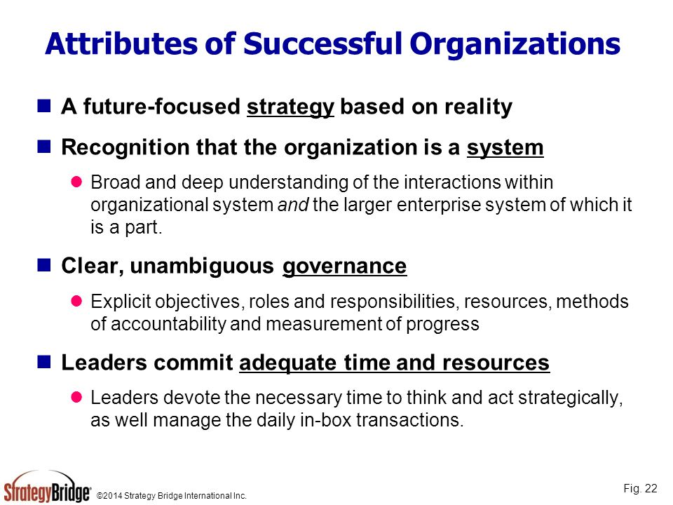©2014 Strategy Bridge International Inc. Attributes of Successful Organizations A future-focused strategy based on reality Recognition that the organi