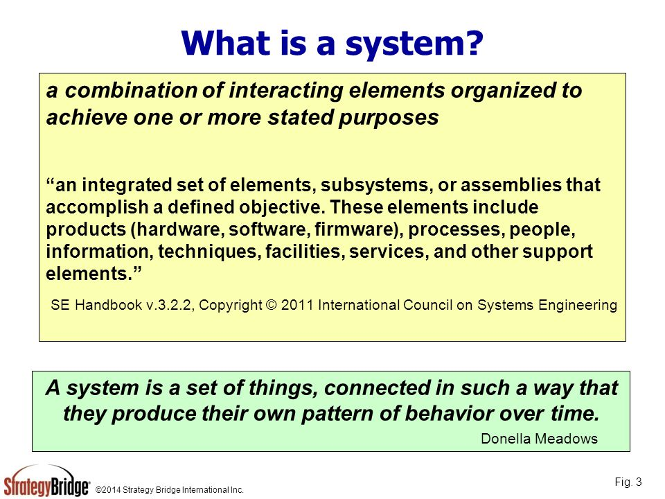 "©2014 Strategy Bridge International Inc. What is a system? a combination of interacting elements organized to achieve one or more stated purposes ""an"