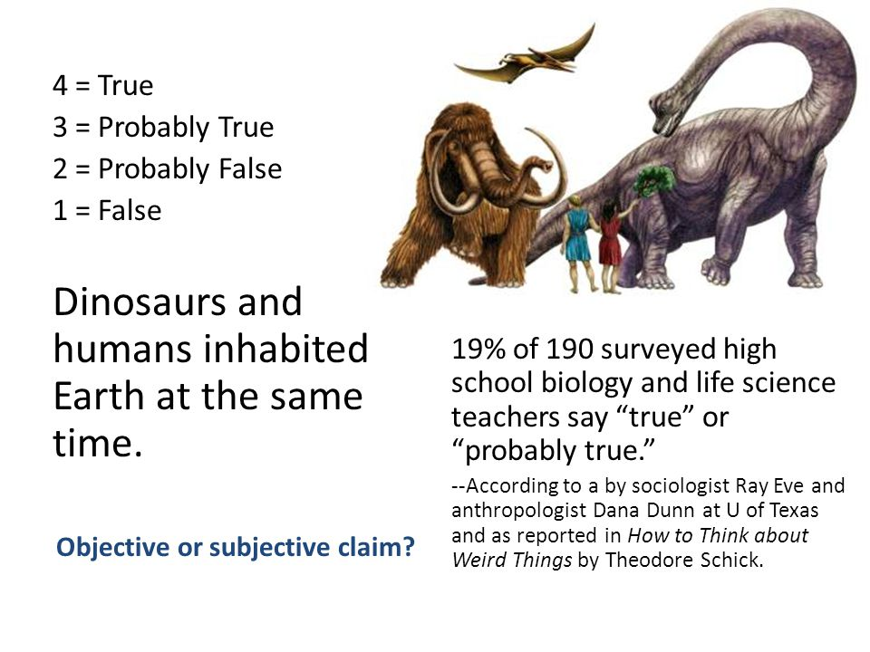 4 = True 3 = Probably True 2 = Probably False 1 = False Dinosaurs and humans inhabited Earth at the same time.