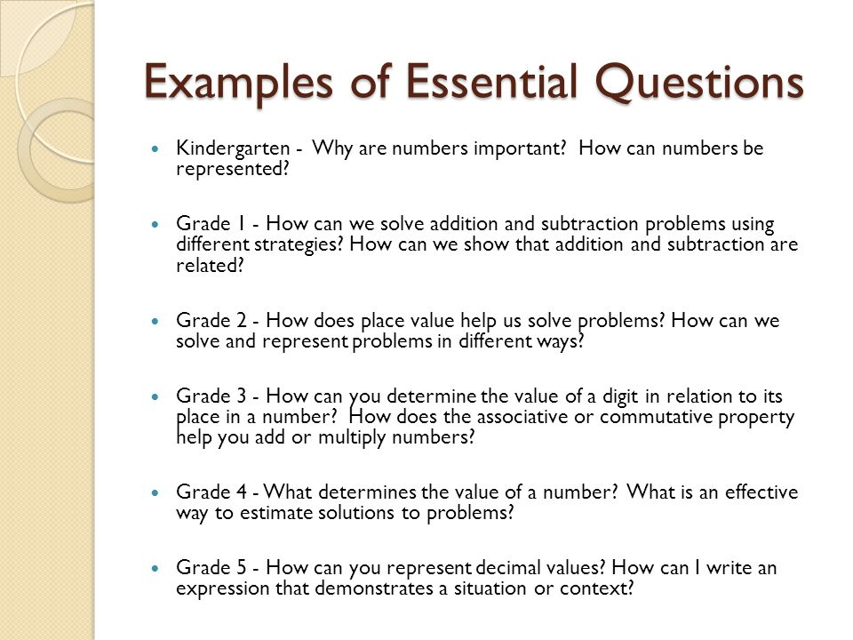 Examples of Essential Questions Kindergarten - Why are numbers important.