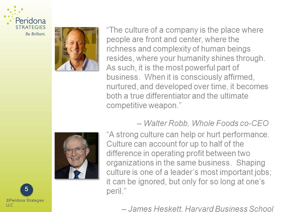 Four Principles of Conscious Capitalism Purpose: Beyond profits, the reason for existence Stakeholder Integration: Looking for synergies to create the ultimate win- win Conscious Leadership: Emotionally & spiritually mature; motivated by service; develop, mentor, inspire & lead by example Conscious Culture: Facilitates the continued growth of the individual and the organization © Peridona Strategies LLC 6