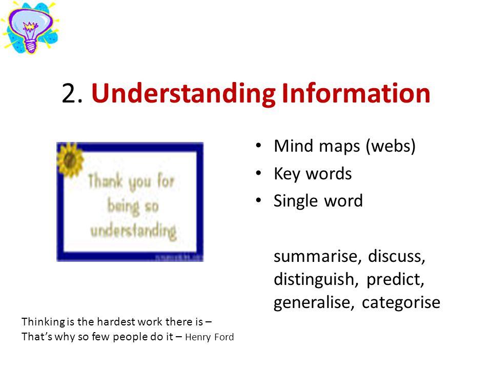 2. Understanding Information Mind maps (webs) Key words Single word summarise, discuss, distinguish, predict, generalise, categorise Thinking is the h