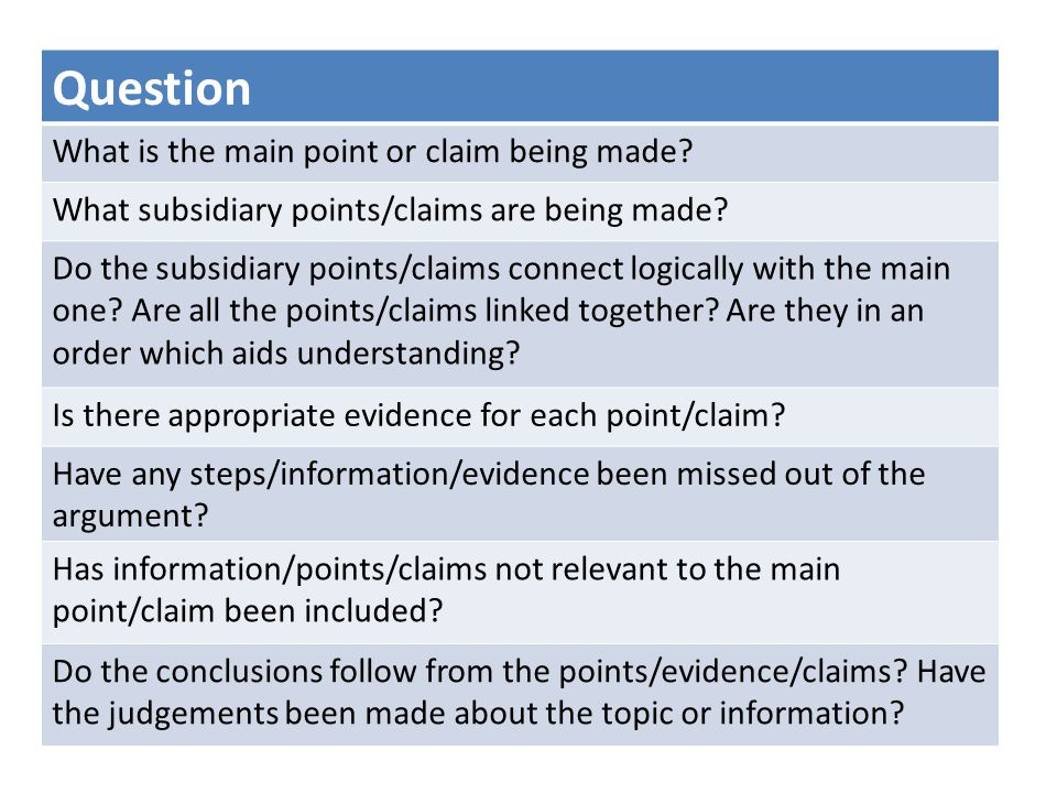 Question What is the main point or claim being made? What subsidiary points/claims are being made? Do the subsidiary points/claims connect logically w