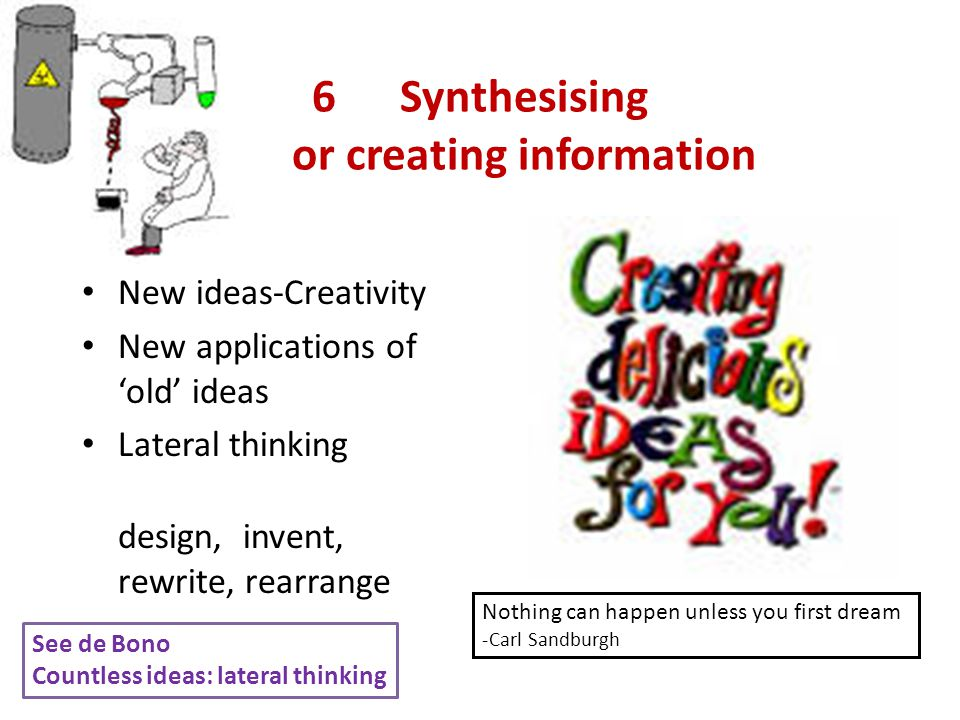 6Synthesising or creating information New ideas-Creativity New applications of 'old' ideas Lateral thinking design, invent, rewrite, rearrange Nothing can happen unless you first dream -Carl Sandburgh See de Bono Countless ideas: lateral thinking