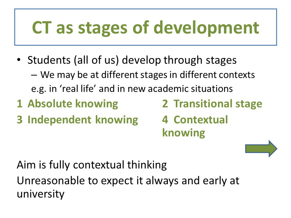 CT as stages of development Students (all of us) develop through stages – We may be at different stages in different contexts e.g.