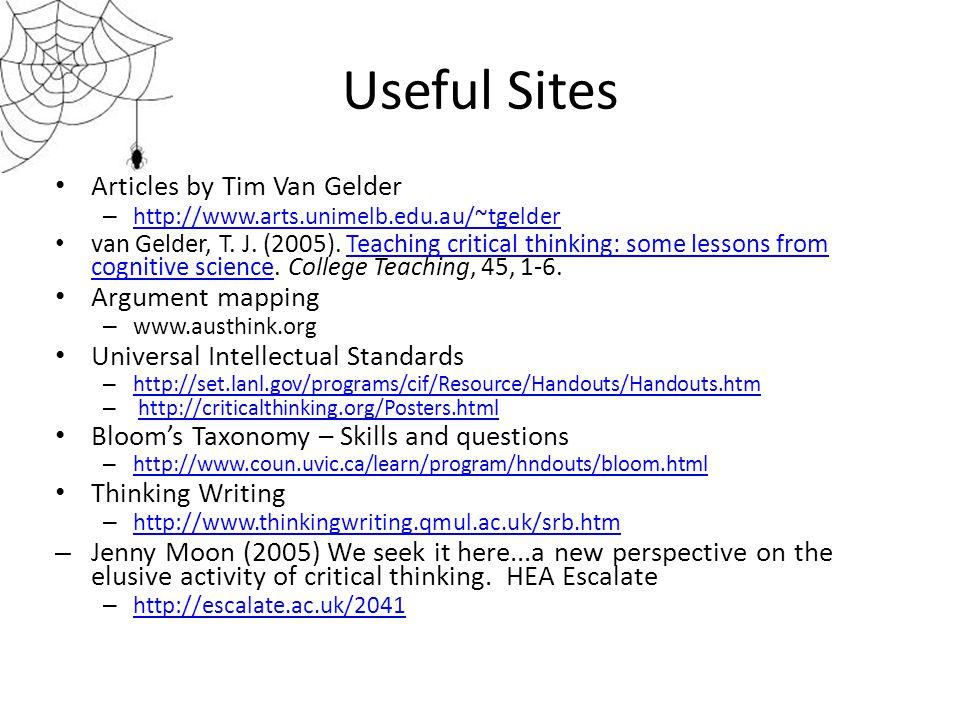 Useful Sites Articles by Tim Van Gelder – http://www.arts.unimelb.edu.au/~tgelder http://www.arts.unimelb.edu.au/~tgelder van Gelder, T. J. (2005). Te